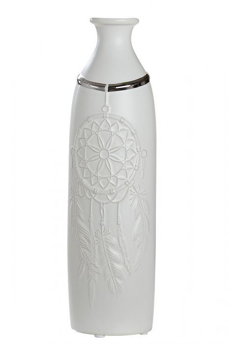 Vaza Dreamcatcher, ceramica, alb, 8x30.5 cm lotusland.ro