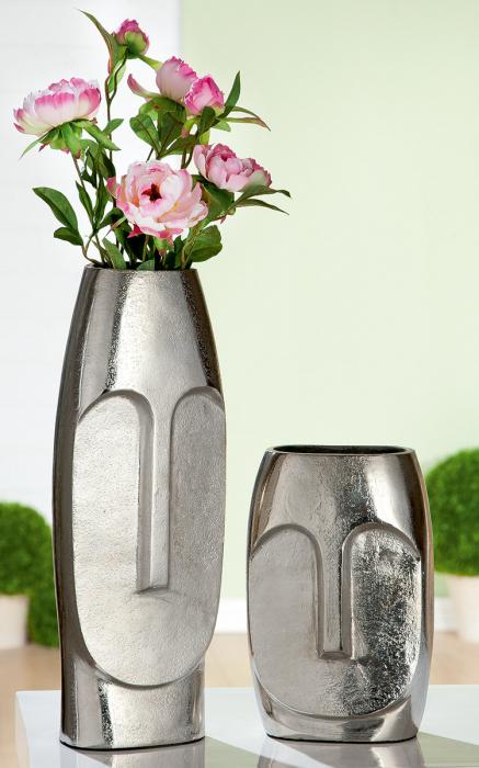 Vaza Face, aluminiu, argintiu, 14x38x11 cm 2021 lotusland.ro