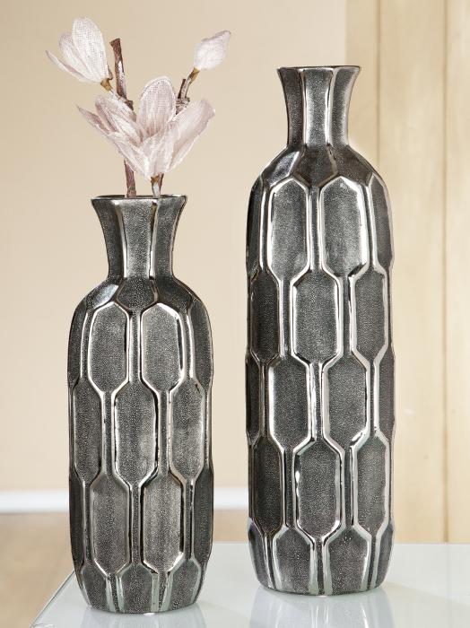 Vaza Favo, ceramica, gri argintiu, 13x36x13 cm lotusland.ro