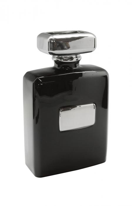 Vaza Flacon Milano, ceramica, negru argintiu, 13.5x7x22 lotusland.ro