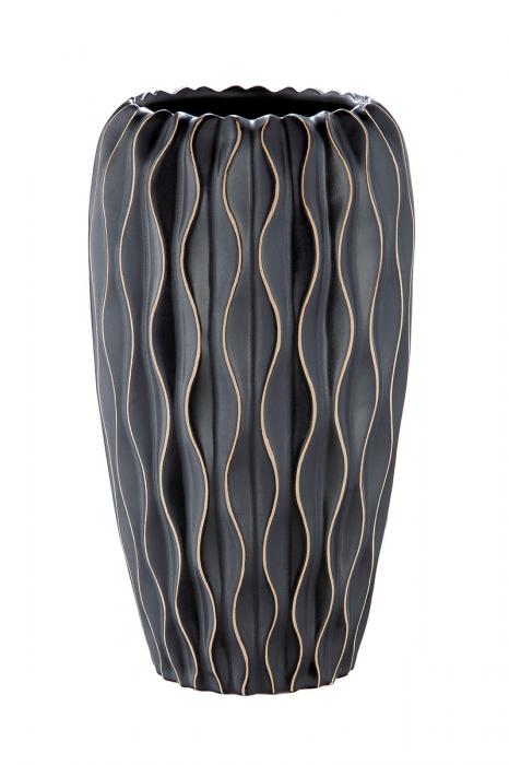 Vaza Flutto, ceramica, negru, 14x25x14 cm 2021 lotusland.ro