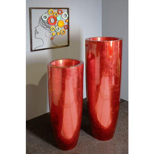 Vaza/Ghiveci Konus, rasina/fibra de sticla, rosu, 92x35 cm 0