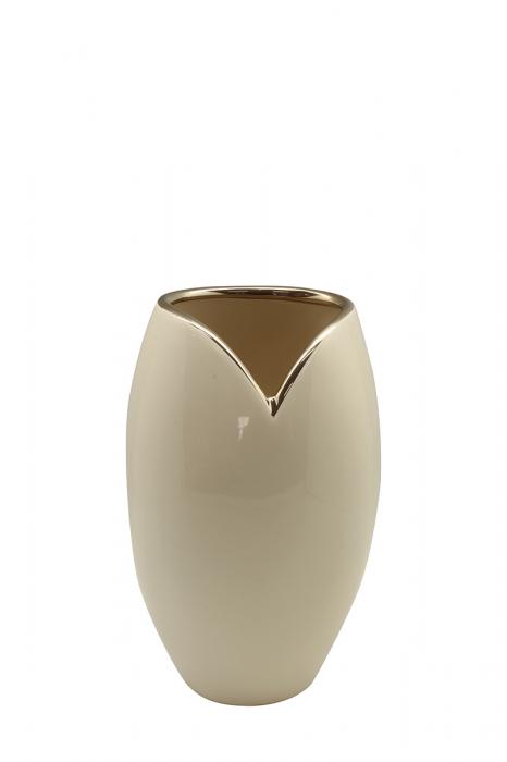 Vaza Giovanni , ceramica, crem, 14x10x21,5 cm lotusland.ro