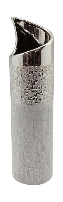 Vaza Grace, ceramica, argintiu, 10x10x39.5 cm lotusland.ro