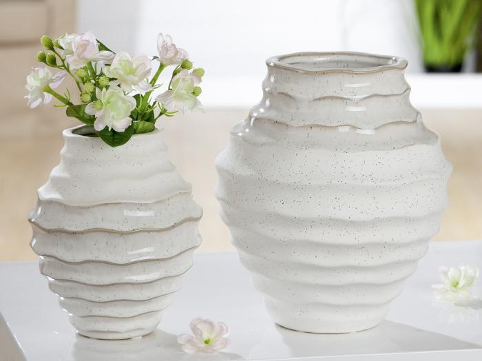 Vaza Granito, ceramica, alb, 14x16x14 cm, lotusland.ro