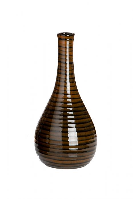 Vaza Halfmoon Tigre, ceramica, maro, 13,5x13,5x30 cm lotusland.ro