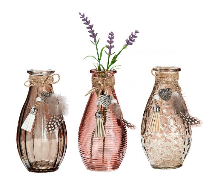 Set 3 vaze Heart Feather, sticla, gri roz, 7x7x14 cm 2021 lotusland.ro