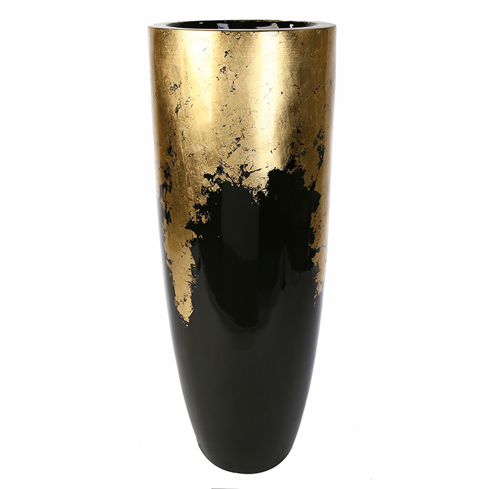 Vaza ghiveci Konus, fibra de sticla, negru auriu, 75x35 cm lotusland.ro