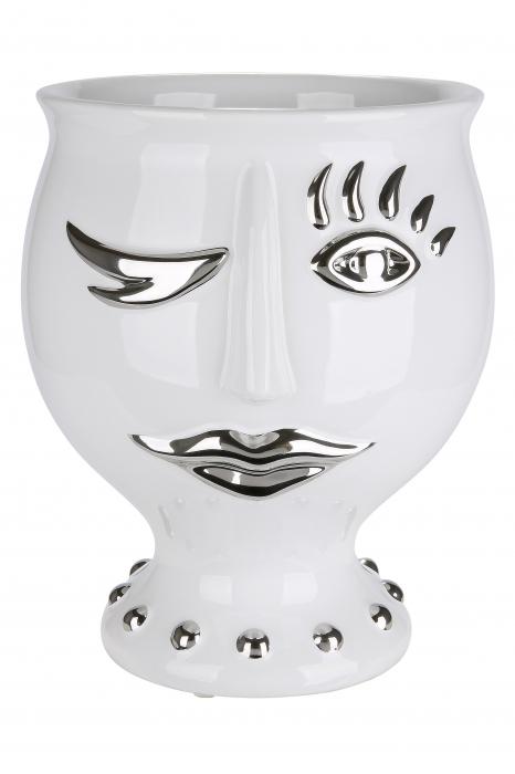 Vaza Lady Face, ceramica, alb/argintiu, 21x24x21 cm 1