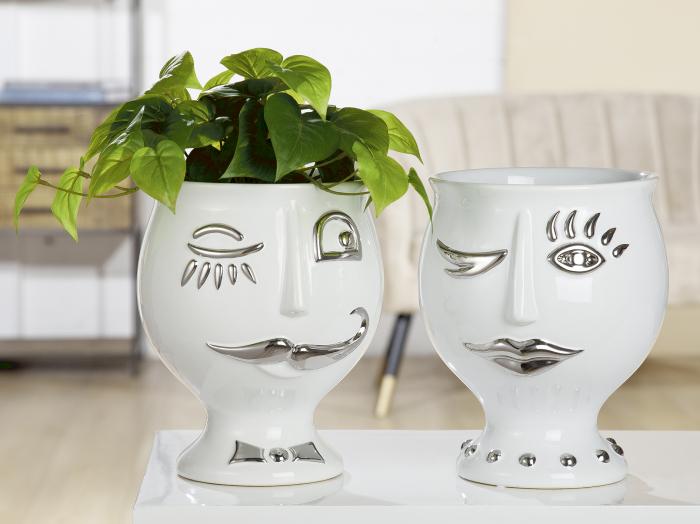 Vaza Lady Face, ceramica, alb/argintiu, 21x24x21 cm 0