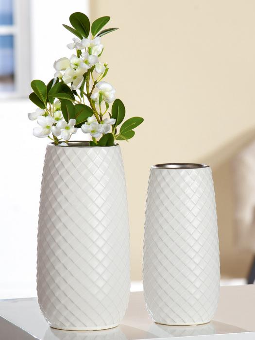 Vaza Lille, ceramica, alb, 10x19.5x10 cm imagine 2021 lotusland.ro