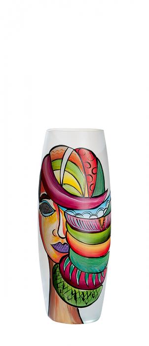 Vaza Misteriosa, sticla, multicolor, 26x11 cm 2021 lotusland.ro