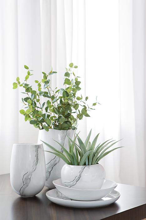 Vaza Mistral, Ceramica, Argintiu Alb, 15x21 cm 2021 lotusland.ro