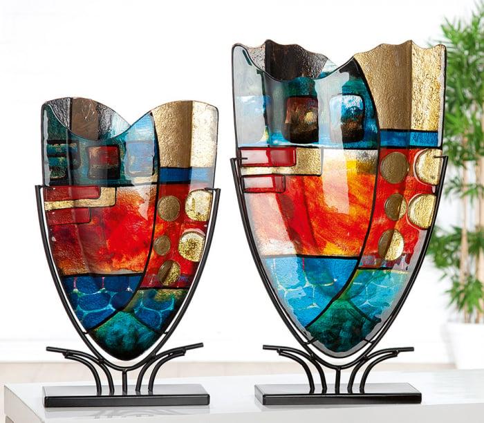 Vaza NEBRA, sticla/metal, 57x10.5x35 cm 1
