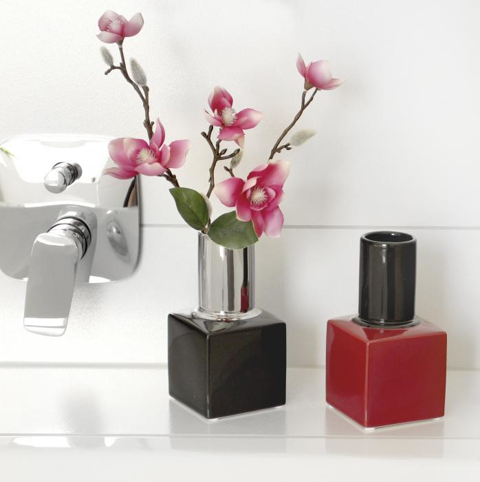 Vaza oja Milano, ceramica, rosu/negru, 9.5x9.5x18 cm 1