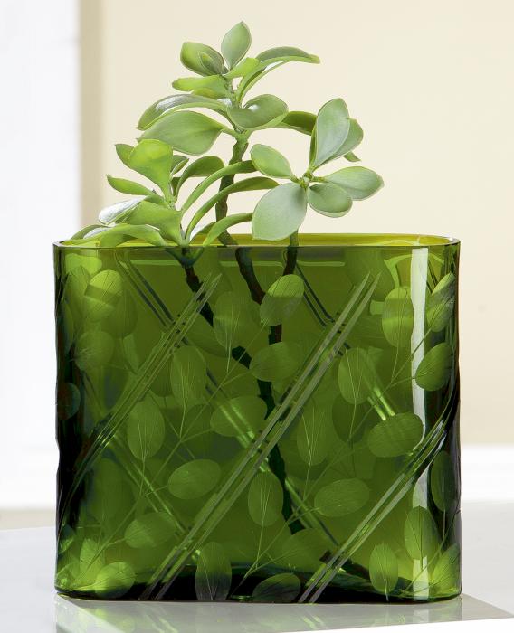 Vaza Otono, sticla, verde, 16.5x23x9.5 cm lotusland.ro