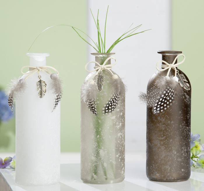 Set 3 vaze Pennino, sticla, gri alb, 7.5x7.5x20 cm 2021 lotusland.ro
