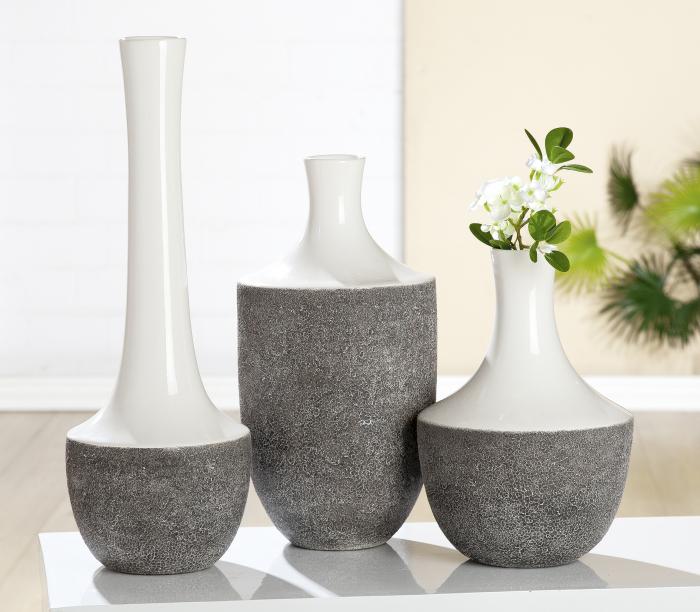 Vaza Pietra, ceramica, gri alb, 31x21 cm lotusland.ro