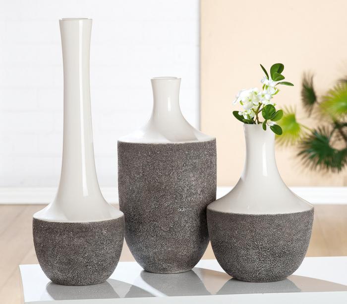 Vaza Pietra, ceramica, gri alb, 50x17.5 cm 2021 lotusland.ro