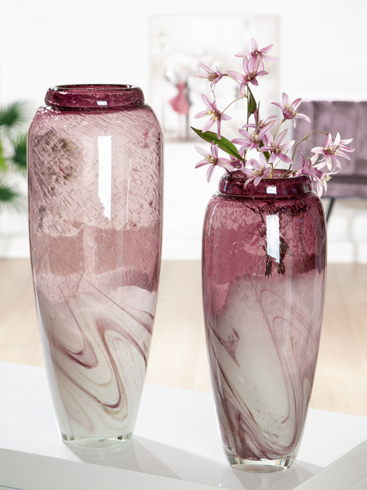 Vaza Porpora, sticla, roz alb, 35x15 cm lotusland.ro