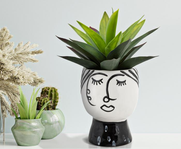 Vaza Pot face, portelan, alb negru, 14X18.2 cm imagine 2021 lotusland.ro