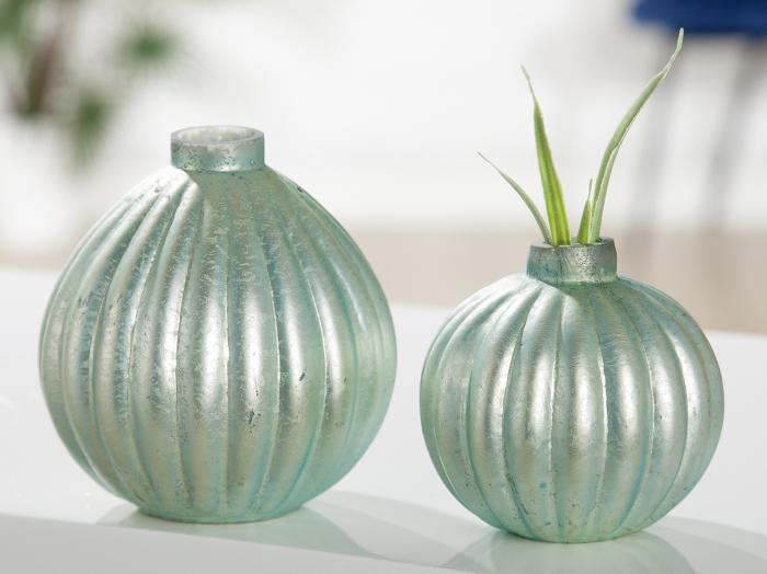 Vaza Primavera, sticla, verde, 8x8x8 cm imagine 2021 lotusland.ro