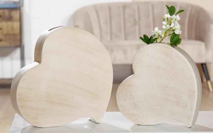 Vaza Romantika, ceramica, bej, 31x31x8 cm imagine 2021 lotusland.ro