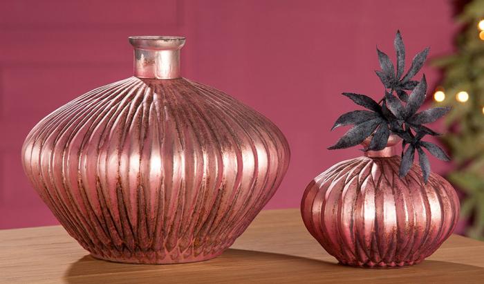 Vaza Rosy, sticla, roz, 14.5x17.5 cm imagine 2021 lotusland.ro