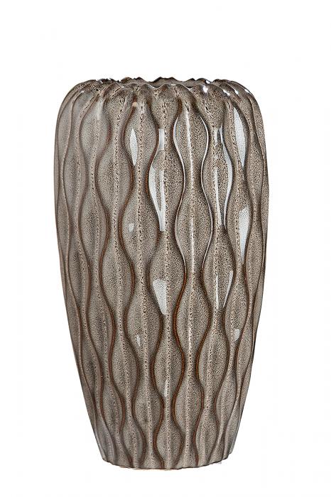 Vaza Santorin, ceramica, maro, 14x14x25 cm imagine 2021 lotusland.ro