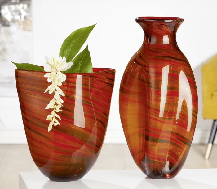 Vaza Sienna, sticla, rosu portocaliu, 22x44x16 cm imagine 2021 lotusland.ro
