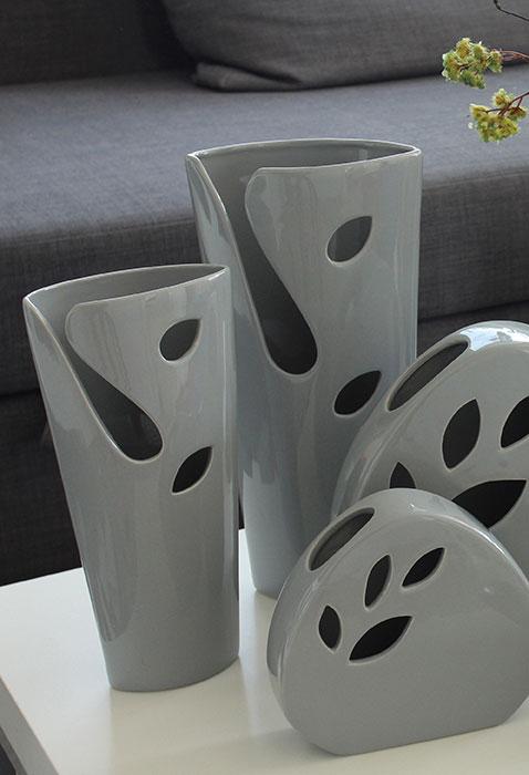 Vaza Slim Vito Grey, ceramica, gri, 7x27x13 cm imagine 2021 lotusland.ro