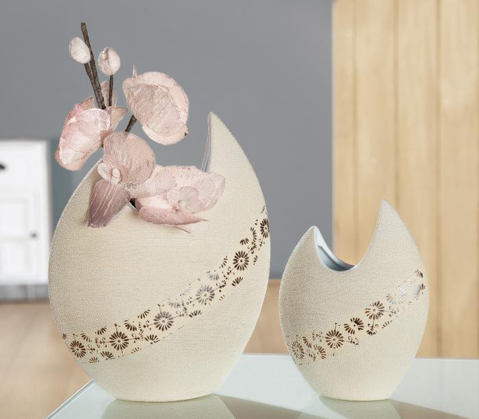 Vaza Soffione, ceramica, bej, 17x6x21,5 cm imagine 2021 lotusland.ro