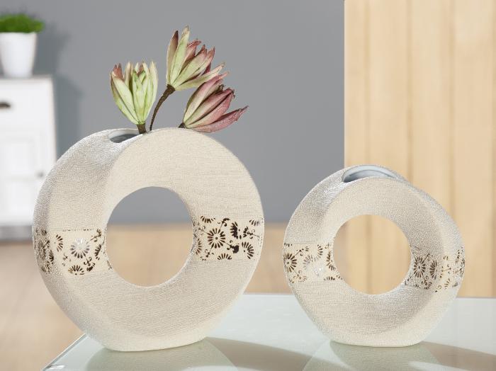 Vaza Soffione, ceramica, bej, 18,5x7,5x18 cm lotusland.ro