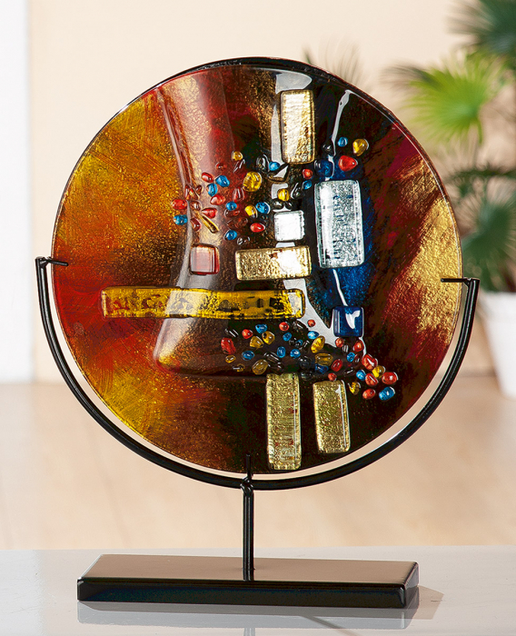 Vaza SOLEIL, sticla metal, 38x32x10 cm 2021 lotusland.ro