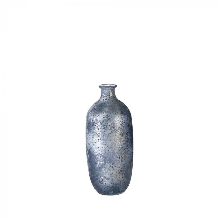 Vaza Solid, albastru metalic, 100% sticla reciclata, 31 cm lotusland.ro