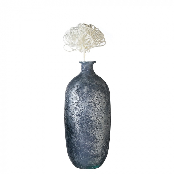 Vaza Solid, albastru metalic,100% sticla reciclata, 38 cm lotusland.ro