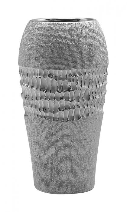 Vaza Splendor, ceramica, argintiu, 16x12.5x32.5 cm imagine 2021 lotusland.ro