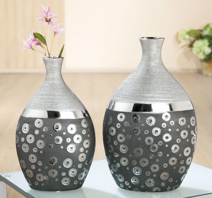 Vaza Stampino, ceramica, gri argintiu, 22x36x11.5 cm lotusland.ro