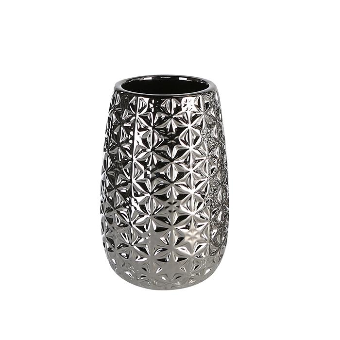 Vaza Star Shape argintiu, ceramica, inaltime 20cm imagine 2021 lotusland.ro