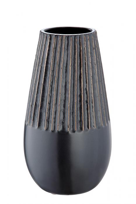Vaza Strips, ceramica, negru, 14x25x14 cm 2021 lotusland.ro