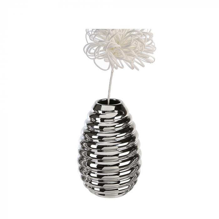 Vaza Swirl argintiu, ceramica glazurata, 25 cm lotusland.ro