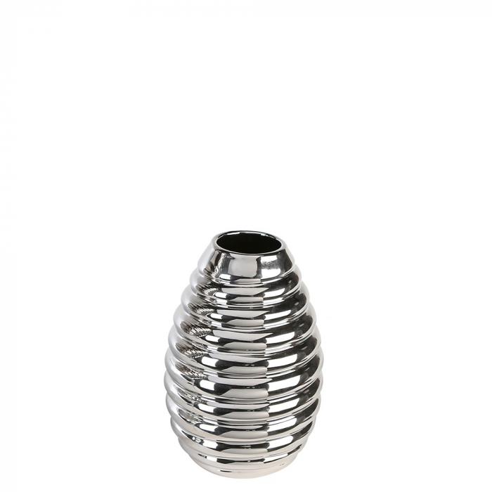 Vaza Swirl argintiu, ceramica glazurata, 30 cm lotusland.ro
