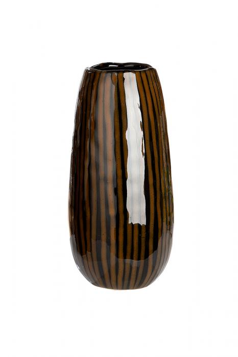 Vaza Tigre, ceramica, maro, 13x13x27,5 cm 2021 lotusland.ro