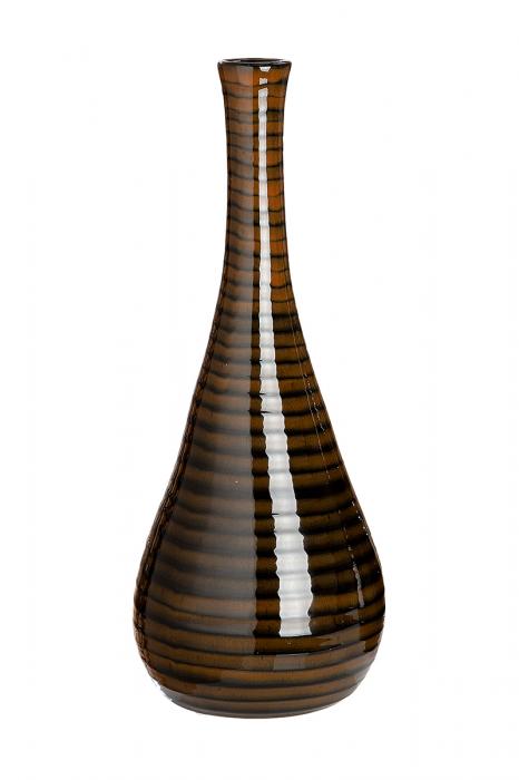 Vaza Tigre, ceramica, maro, 14x14x35 cm lotusland.ro