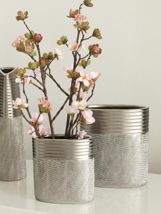 Vaza Trace, ceramica, argintiu, 14x15x7.5 cm 2021 lotusland.ro