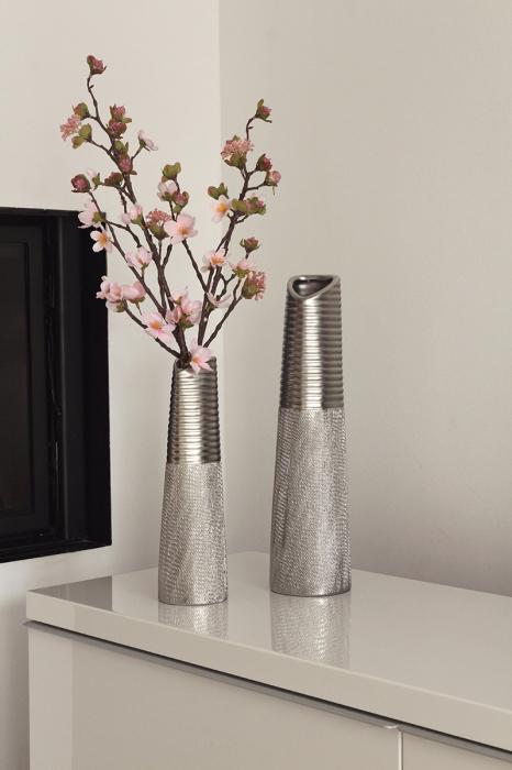 Vaza Trace, ceramica, argintiu, 8.5x30x8.5 cm 2021 lotusland.ro