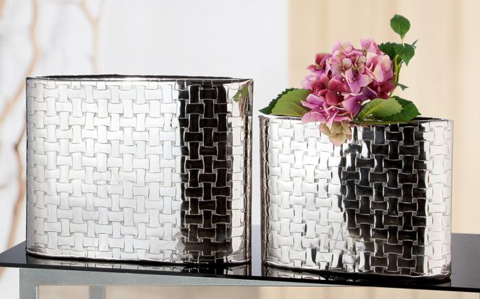 Vaza Treccia, aluminiu, argintiu, 43x33x10 cm lotusland.ro
