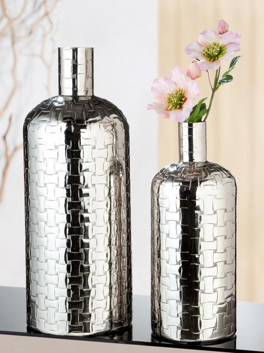 Vaza Treccia, aluminiu, argintiu, 54x21 cm imagine 2021 lotusland.ro