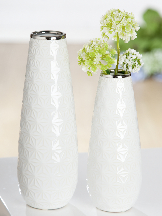 Vaza Valencia, ceramica, alb argintiu, 8x20x8 cm lotusland.ro