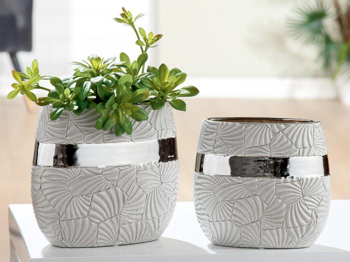 Vaza Ventaglio, ceramica, gri argintiu, 21x21x8.9 cm lotusland.ro